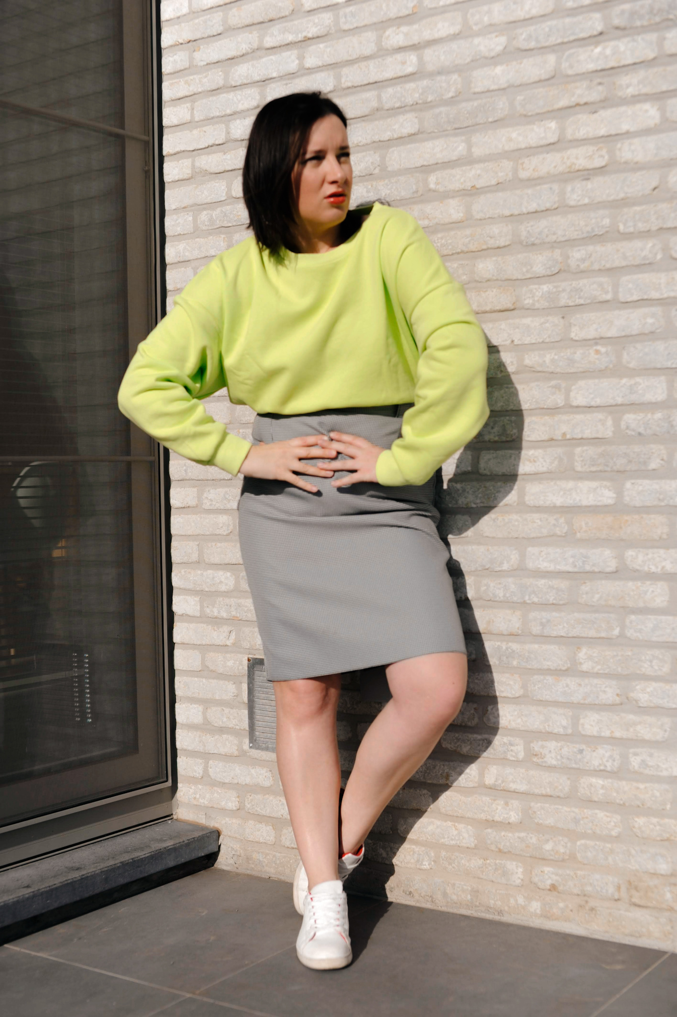 vintage preloved pied-de-poule skirt with neon green sweater