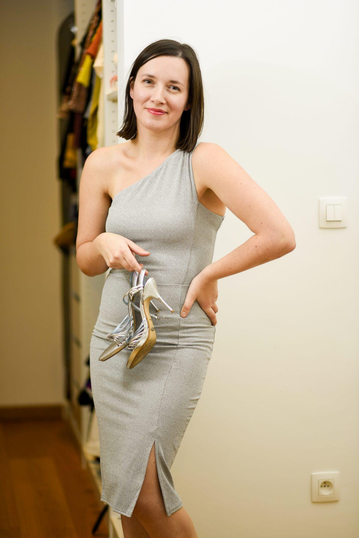 zilveren jurk bodycon
